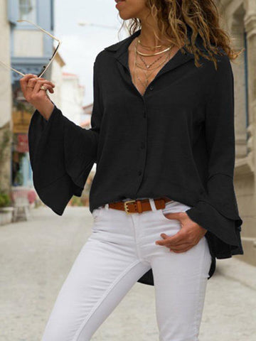 Image of Solid Color Blouses\u0026Shirts Top BLACK M