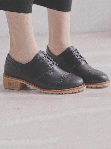 Image of Vintage Solid Leather Shoes BLACK 34