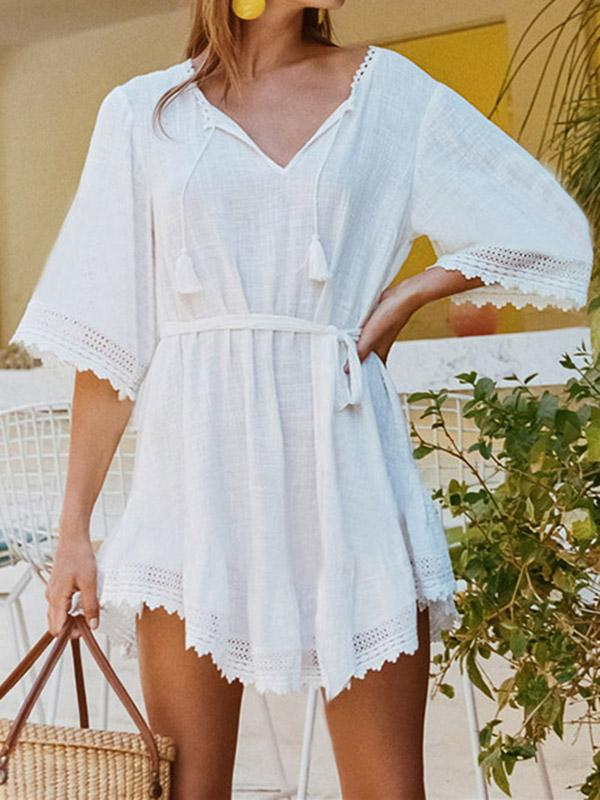Solid Strap Beach Cover-ups Tops WHITE FREE SIZE