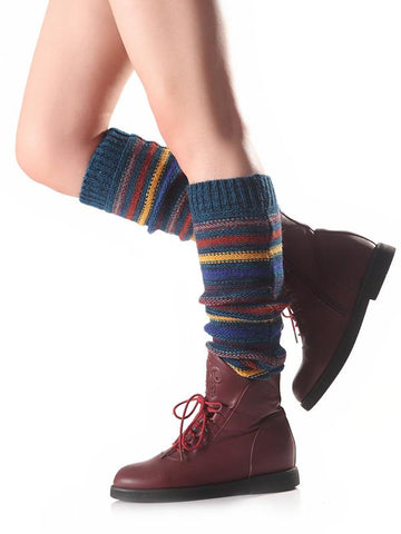 Image of Bohemia 5 Colors Knitting Over Knee-high Stocking CREAM