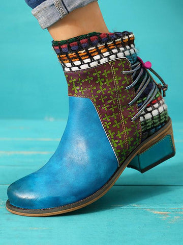 Bohemia Knitting Leather Booties BLUE 37