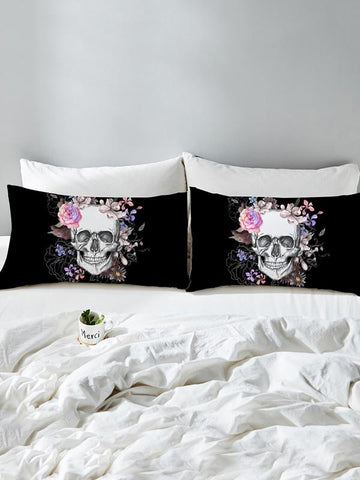 Image of Skull Flower Pattern Twain Pillow Case SAME AS THE PICTURE LARGE SIZE