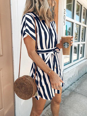 Bohemia Short Sleeves Striped Mini  Dress NAVY BLUE S