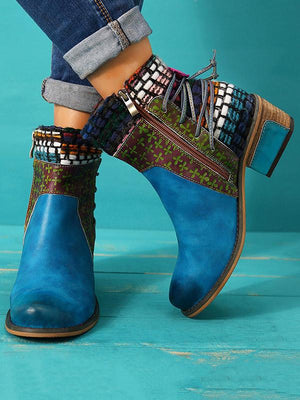 Bohemia Knitting Leather Booties BLUE 36