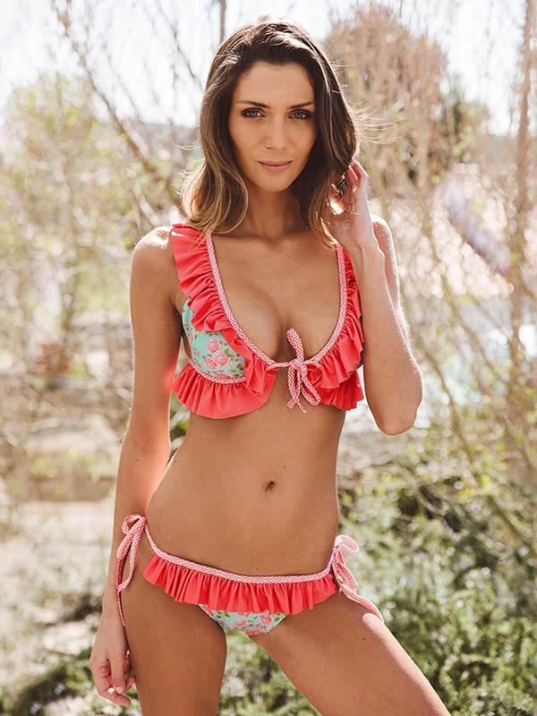 Falbala Ruffled Tied Bikinis Swimwear RED S