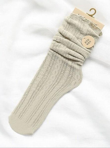 Dooerzi Cutie Stringy Selvedge Hollow Knee-socks