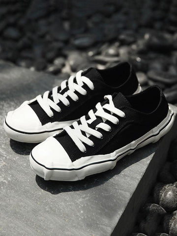 Image of All-match Cropped Canvas Shoes BLACK 41