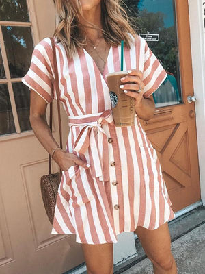 Bohemia Short Sleeves Striped Mini  Dress PINK S