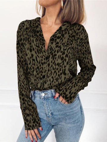 Image of V-neck Leopard Bohemia Blouse Top PINK L