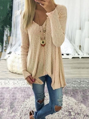 Loose Solid Color Long Sleeves Sweater Tops COFFEE L