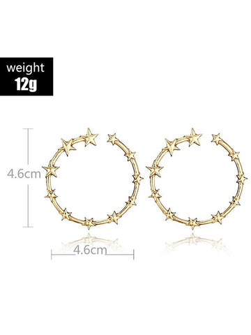 Image of Vintage Star Pattern Earrings Accessories GOLD