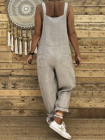 Image of High-waist Loose Bandage Jumpsuits KHAKI S