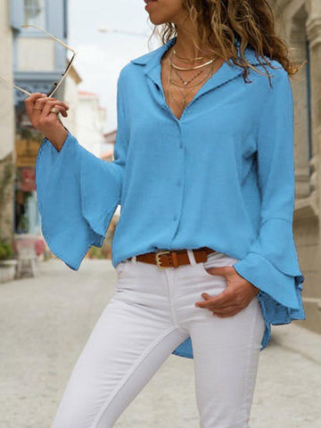 Image of Solid Color Blouses\u0026Shirts Top BLACK 2XL