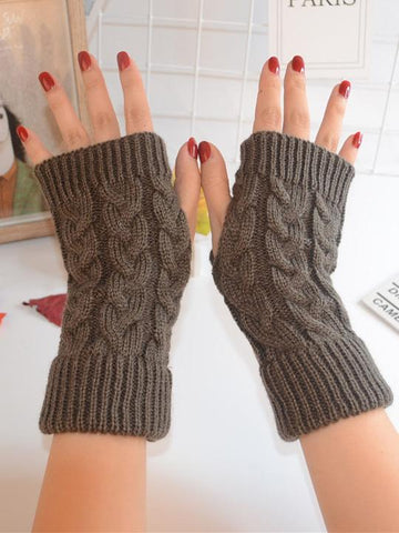 Threaded Half Finger Knit Gloves BLACK FREE SIZE