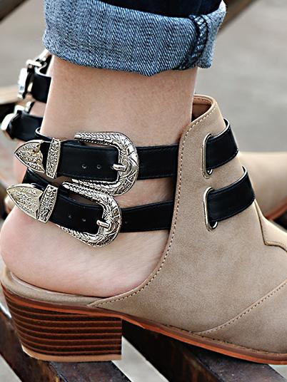 Fashion Double Buckle Pointed Shoes KHAKI 37