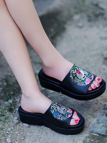 Image of Embroidered Peep-toe Slides Shoes BLACK 40