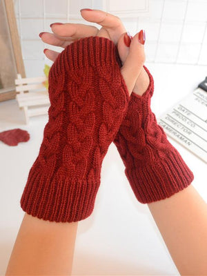 Threaded Half Finger Knit Gloves DEEP GRAY FREE SIZE