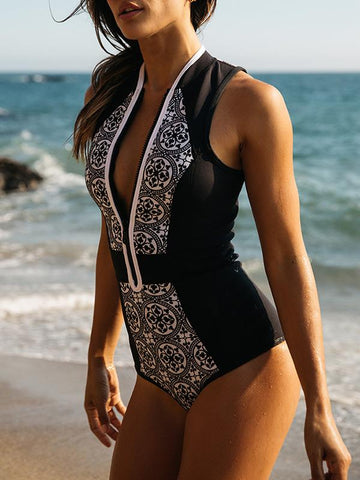 Vintage Zipper Printed One-piece Swimwear BLACK S