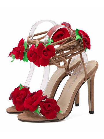 Image of Floral Bandage Decorated Heels Shoes APRICOT 40