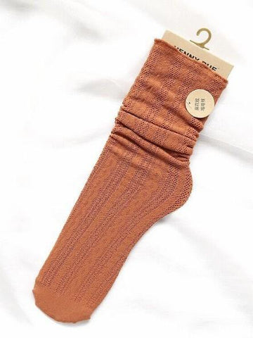 Cutie Stringy Selvedge Hollow Knee-socks BLUE GRAY FREE SIZE
