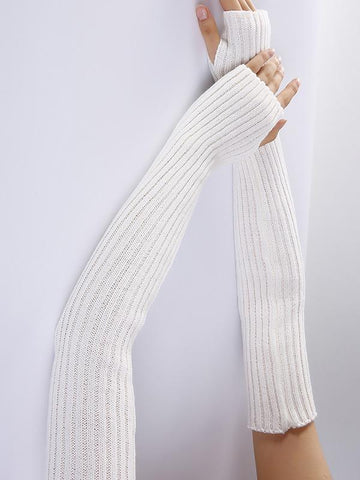 Knitted Solid Color Sleevelet Accessories COFFEE