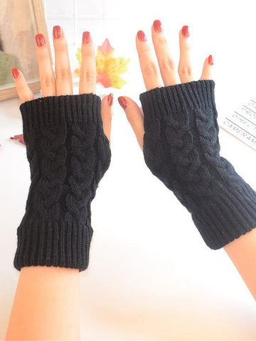Threaded Half Finger Knit Gloves WHITE FREE SIZE