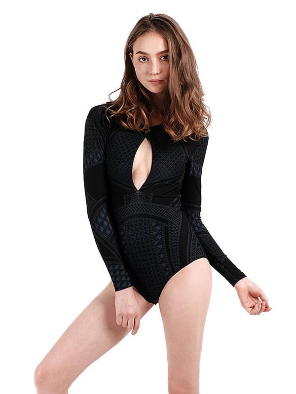 Sexy Dull Long Sleeves Hollow One Piece Swimwear 1 L