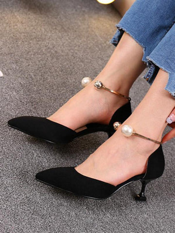 Suede Pointed Mid Heels BLACK 36