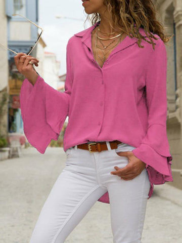 Image of Solid Color Blouses\u0026Shirts Top BLACK XL