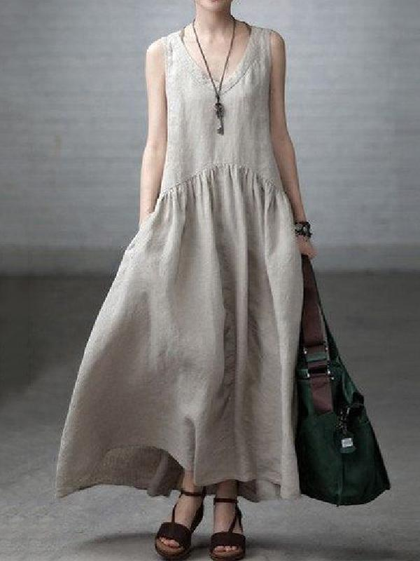 Beige Linen V-neck Sleeveless Ruffled Long Dress BEIGE FREE SIZE