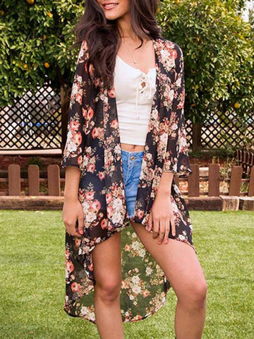Image of Long Sleeves Floral Printed Cover-up Outwear SAME AS PICTURES S