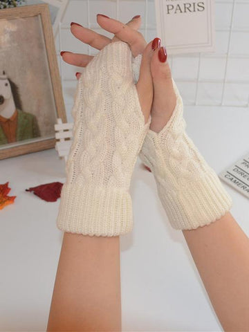 Dooerzi Threaded Half Finger Knit Gloves