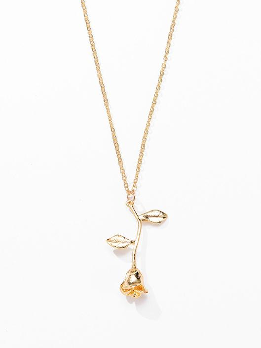 Simple Rose Pattern Necklace GOLD Adjustable