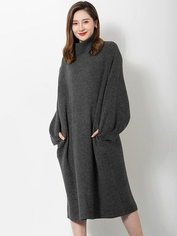 Warm Knitting High-neck Puff Sleeves Sweater Dress BLACK FREE SIZE