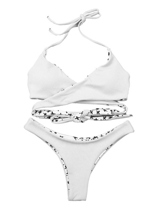 Ribbed Crisscross Adjustable Bikinis Swimwear WHITE M