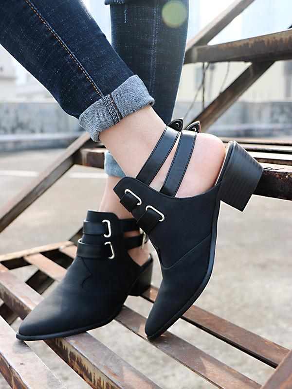 Fashion Double Buckle Pointed Shoes BLACK 40
