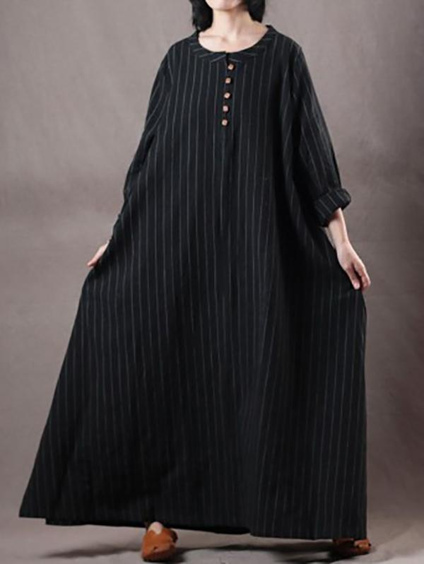 Plus Size Loose Black Striped Long Dress BLACK S