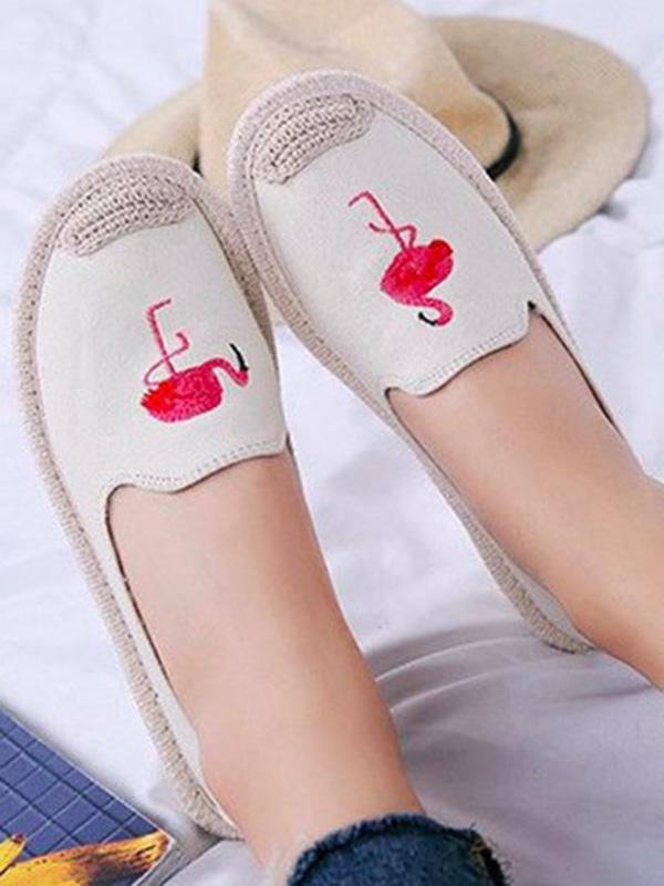 Embroidered Canvas Fisherman Flats CREAM 38