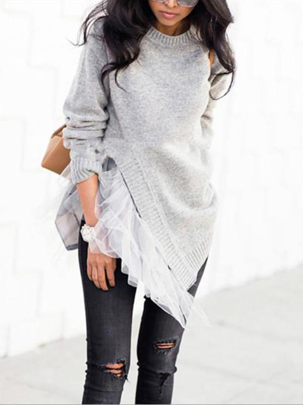 Irregular Gauze Split-joint Sweater GRAY S