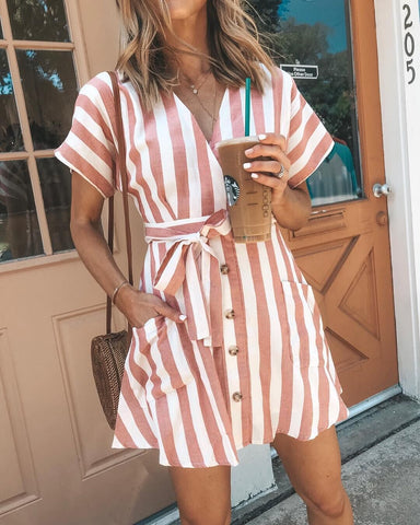 Image of Bohemia Short Sleeves Striped Mini  Dress GRAY XL