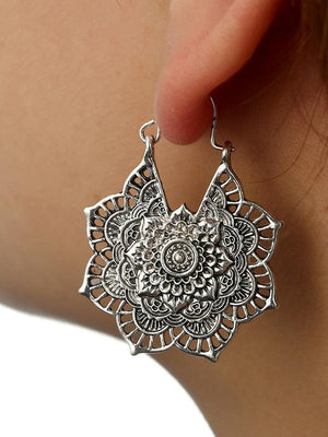 Vintage Hollow Alloy Flower Earring Accessories SILVER FREE SIZE