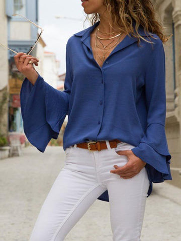 Image of Solid Color Blouses\u0026Shirts Top BLACK S