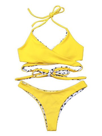 Image of Ribbed Crisscross Adjustable Bikinis Swimwear YELLOW L