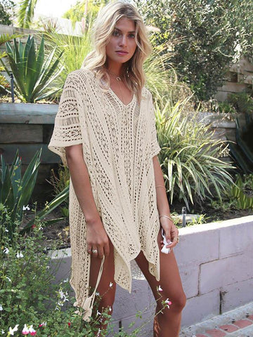 Image of Loose Hollow Vacation Half Sleeve V Neck Beach Cover-Ups BLUE FREE SIZE
