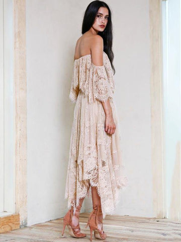 Image of Asymmetric Lace Split-joint Off-the-shoulder Maxi Dress LOTUS PINK M