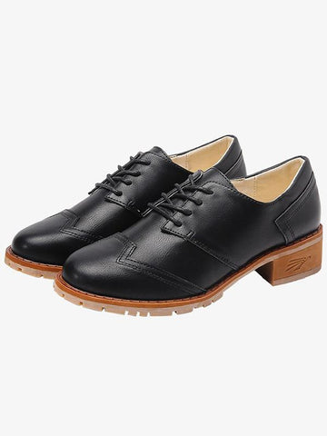 Image of Vintage Solid Leather Shoes BLACK 42