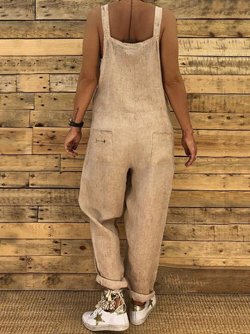 High-waist Loose Bandage Jumpsuits KHAKI XL