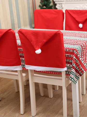 Image of Charpie Santa Hat Chair Cover RED FREE SIZE
