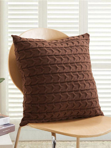 Image of Solid Knitted Textured Pillow Case COFFEE FREE SIZE
