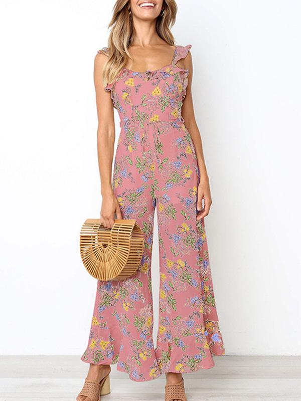Bohemia Backless 3 Colors Wide Leg Jumpsuits PINK S